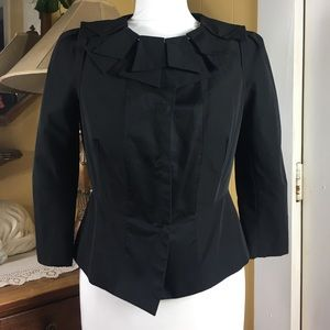 Pleated Collar Cropped Sateen Lined Blazer